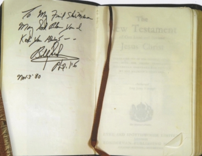 Inscription to Steve McQueen from Billy Graham