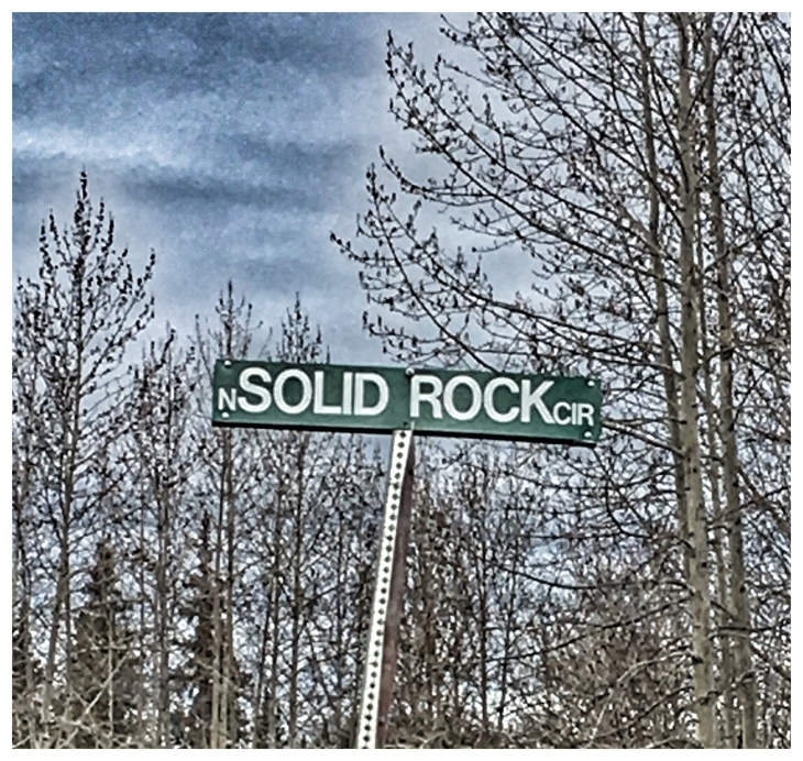 Solid Rock Road Sign